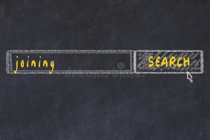 Chalkboard drawing of search browser window and inscription joining.  stock illustration