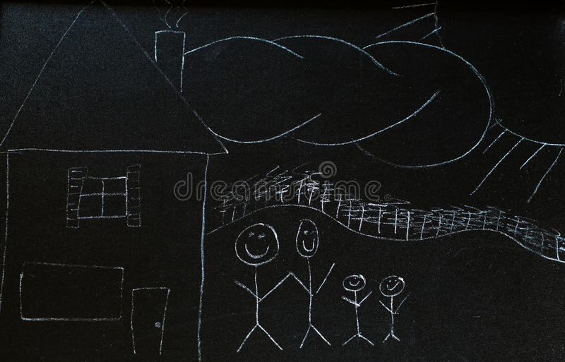 Chalkboard Family stock photography