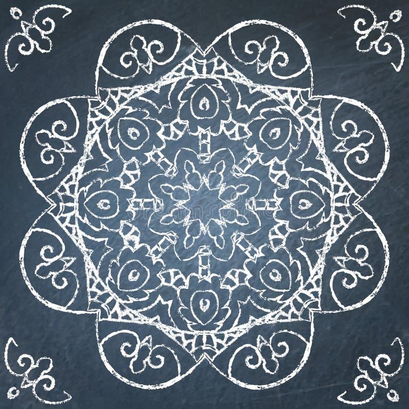 Chalkboard filigree ornament. Round filigree hand drawn ornament on chalkboard vector illustration