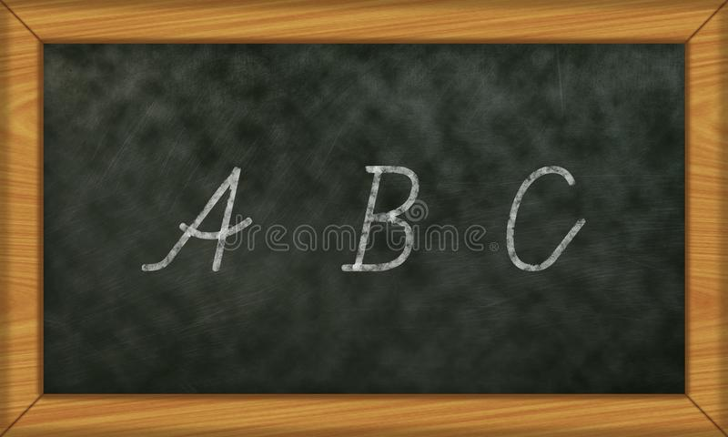Chalkboard with first letters ABC stock photos