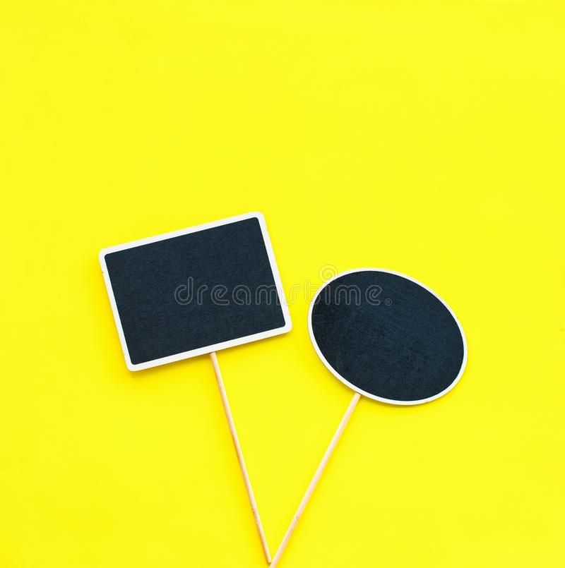 Chalkboard frames Couple objects Party invitation. Chalkboard frames Couple objects two different shapes rectangle and oval Yellow background Template for your royalty free stock photo