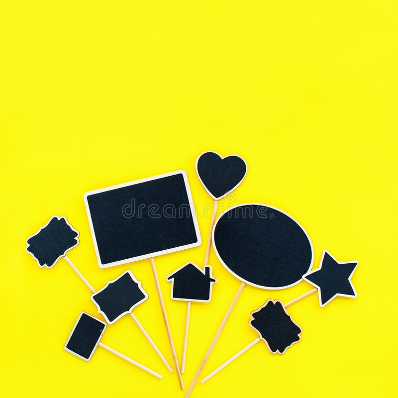 Chalkboard frames Couple objects Party invitation. Chalkboard frames set Different objects shapes rectangle star home heart oval Yellow background Template royalty free stock images