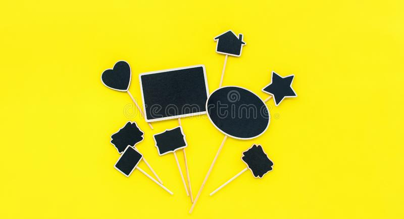 Chalkboard frames Couple objects Party invitation. Chalkboard frames set Different objects shapes rectangle star home heart oval Yellow background Template stock image