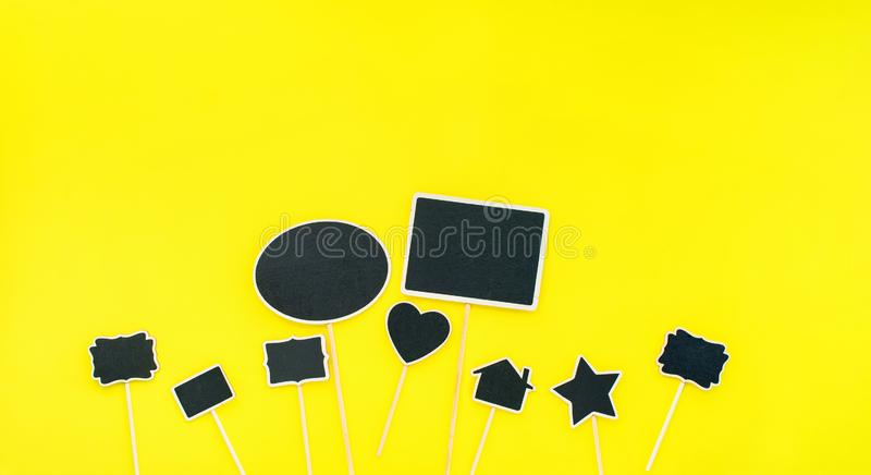 Chalkboard frames Couple objects Party invitation. Chalkboard frames set Different objects shapes rectangle star home heart oval Yellow background Template royalty free stock photography