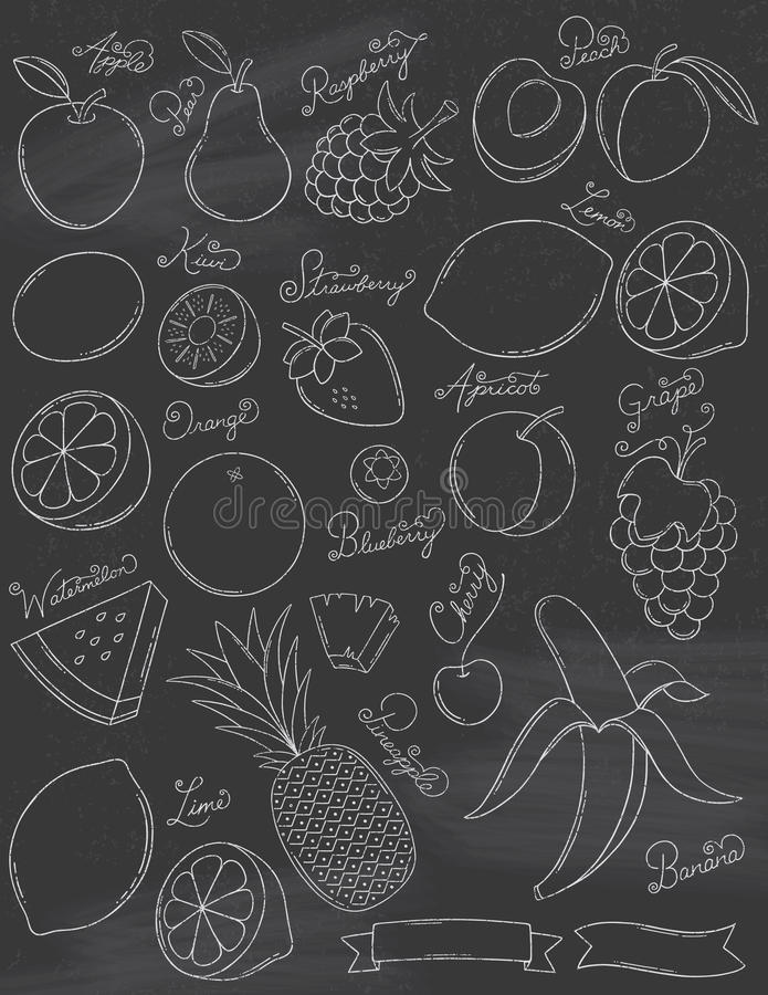 Free Chalkboard Fruits Royalty Free Stock Photo - 45990635