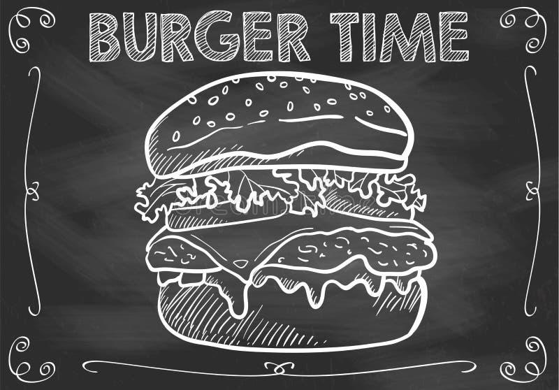 Chalkboard hamburgeru czas z ręka Rysującym hamburgerem royalty ilustracja