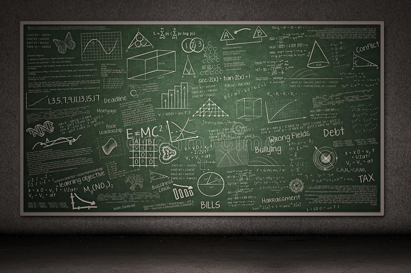 Download Chalkboard With Hand Drawings Stock Image - Image: 28849401