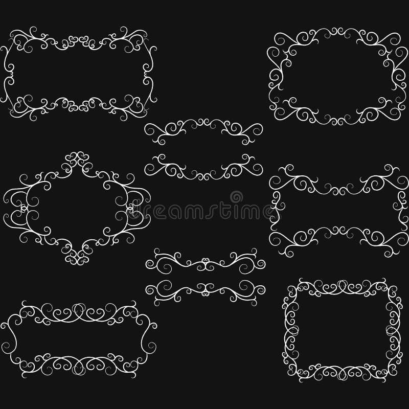 Download Chalkboard Hand Drawn Flourish Swirl Border Frame Swirls Design Elements Stock Vector