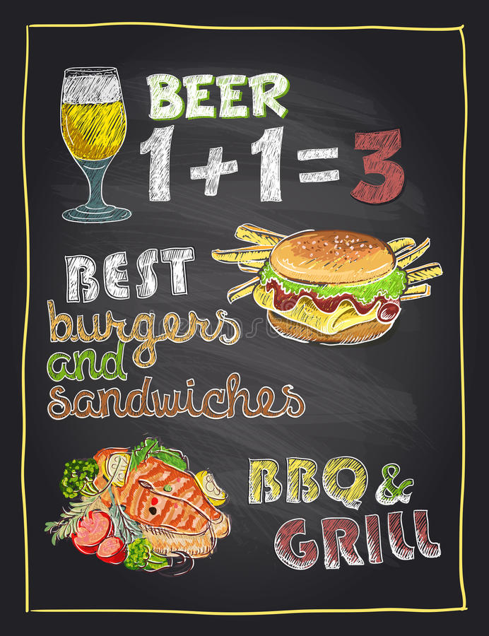 Chalkboard hand drawn menu with beer, burger and grilled fish vector illustration