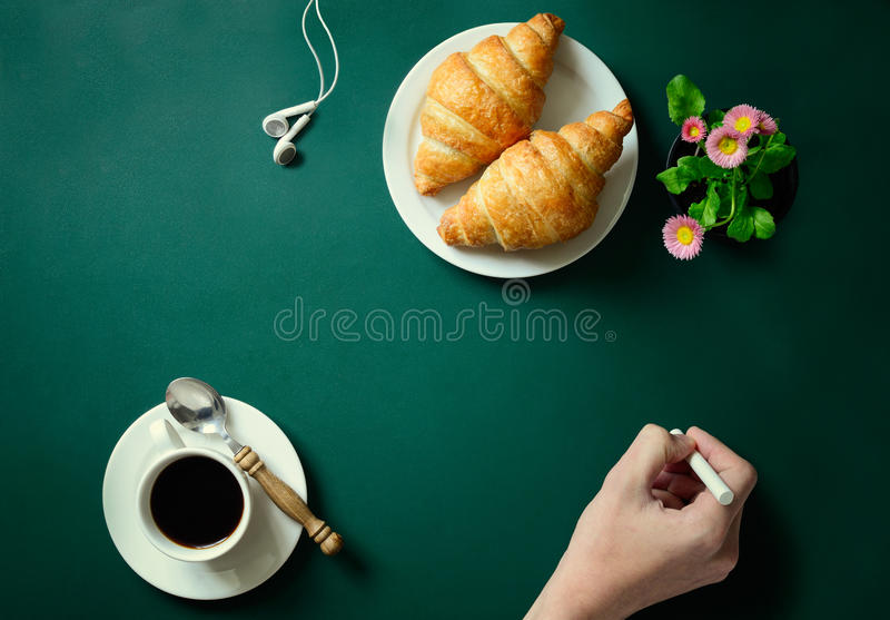 Chalkboard with a hand royalty free stock image