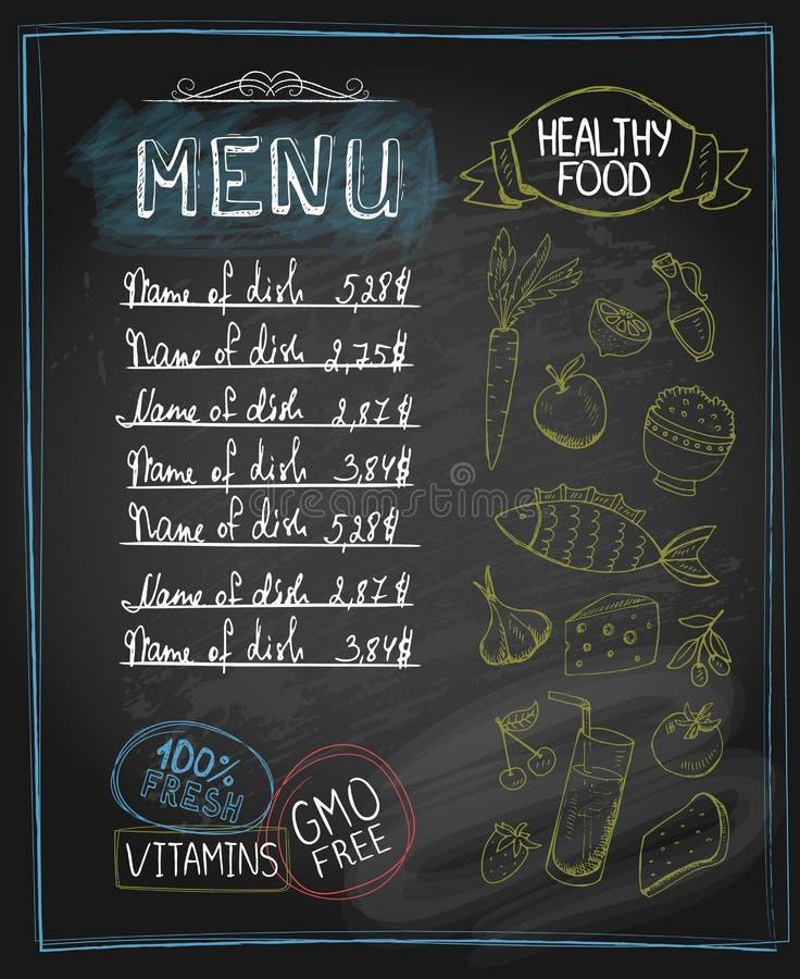 Chalkboard healthy food menu stock illustration