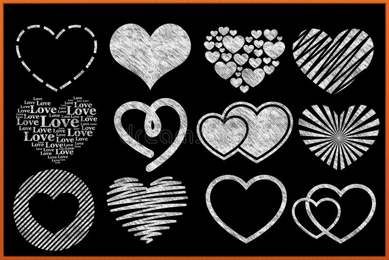 Chalkboard Heart Collection stock illustration
