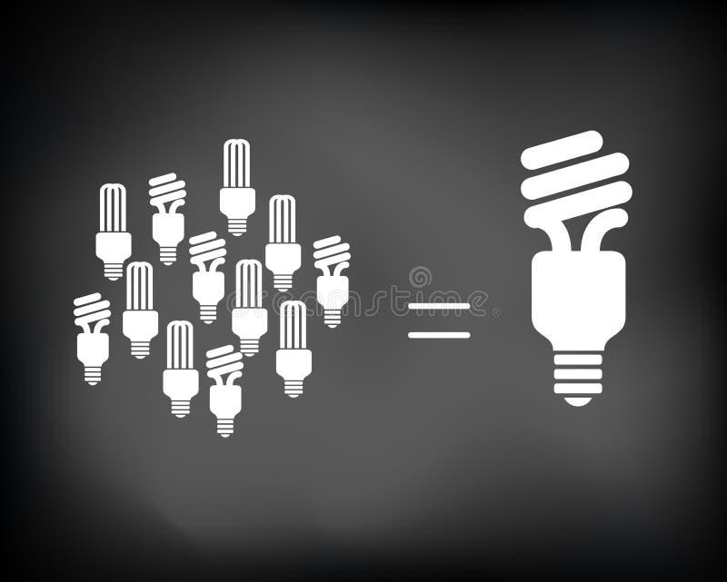 Chalkboard_idea_bulbs royalty-vrije illustratie