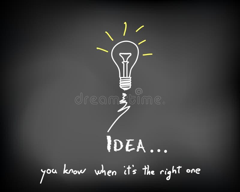 Chalkboard_idea_bulbs_spark stock illustration