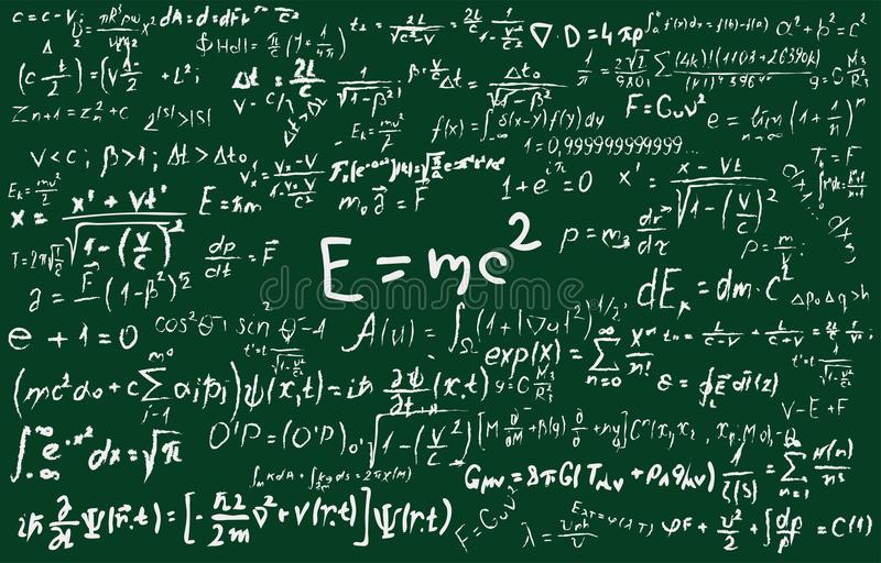 Blackboard inscribed with scientific formulas and calculations in physics and mathematics. Can illustrate scientific stock illustration