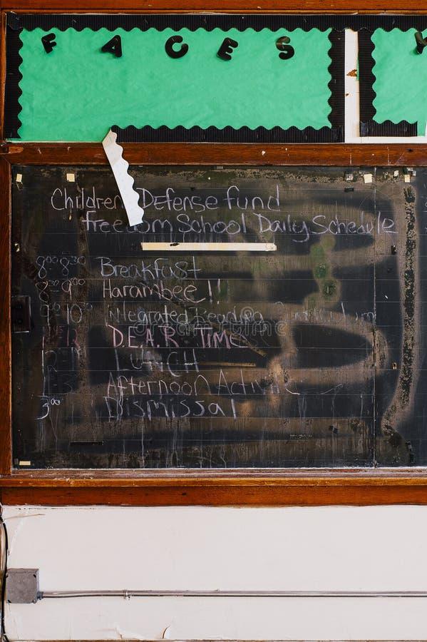 Chalkboard - Abandoned Saint Philomena School, East Cleveland, Ohio stock photography