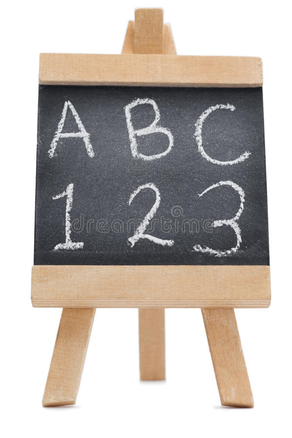 Chalkboard With The Letters ABC And 123 Royalty Free Stock Photo