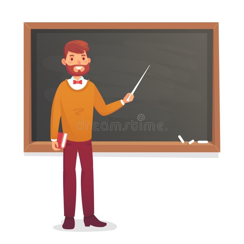 Chalkboard and professor. College or university teacher teach at blackboard. Academic teaching cartoon vector royalty free illustration