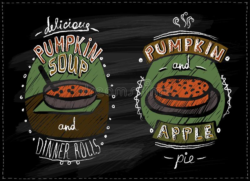 Chalkboard menu for halloween or thanksgiving with pumpkin dishes - pumpkin pie, apple pie and pumpkin soup royalty free illustration