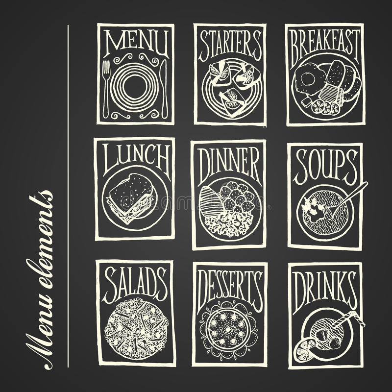 Chalkboard menu icons - Meals stock image