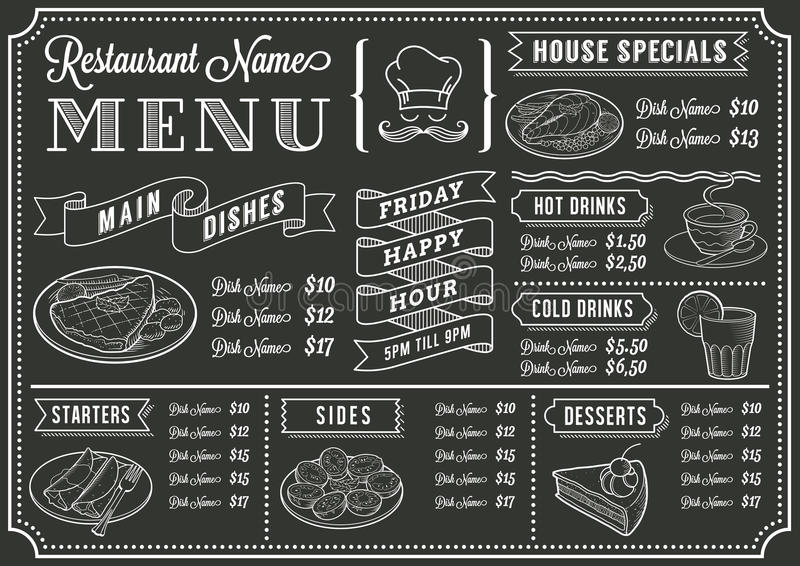 Chalkboard menu Restauracyjny szablon ilustracja wektor