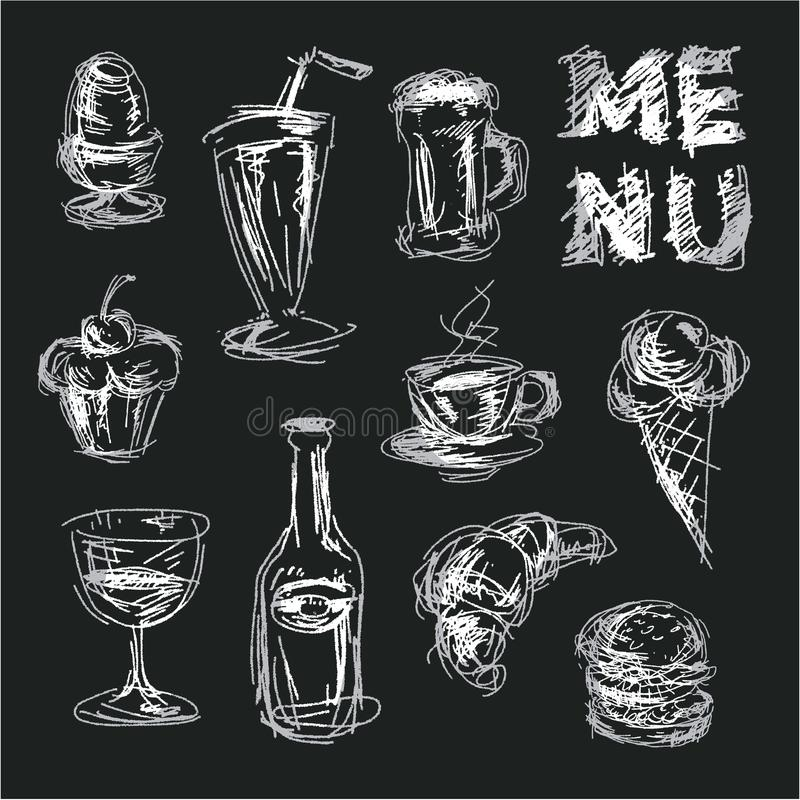 Chalkboard menu for restaurant and bars. Chalk drawings food. Sketch style Hand drawn food. vector illustration