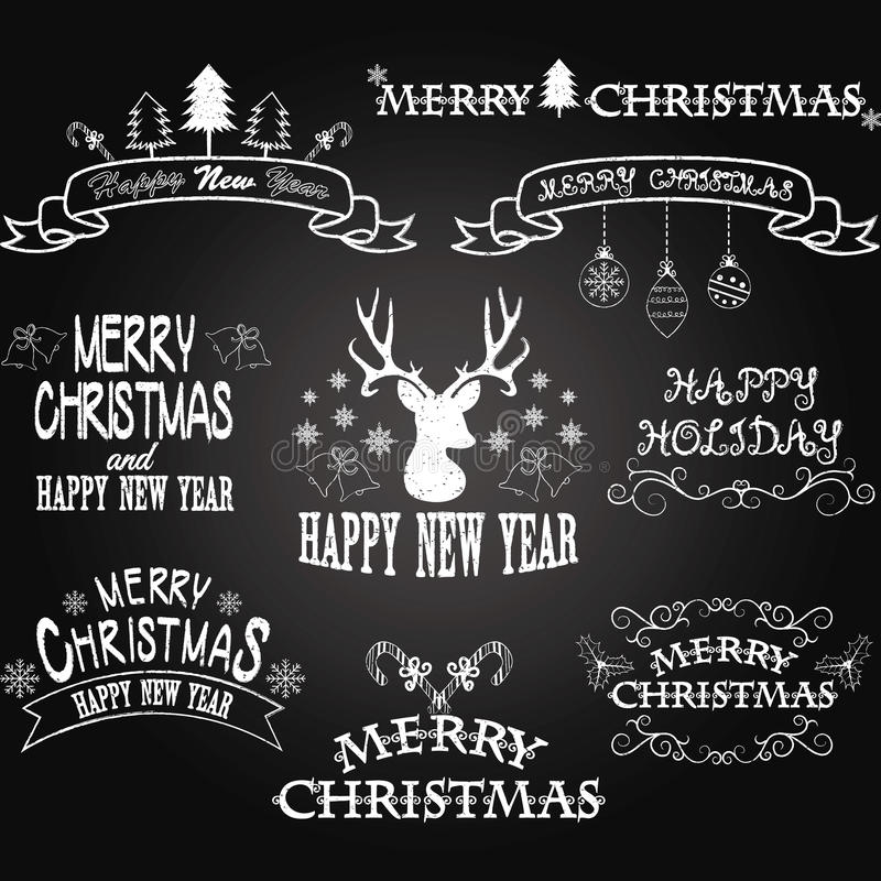 Chalkboard Merry Christmas Border Frames,Banner,Christmas Deer,Christmas Font Elements.Vector illustration stock illustration