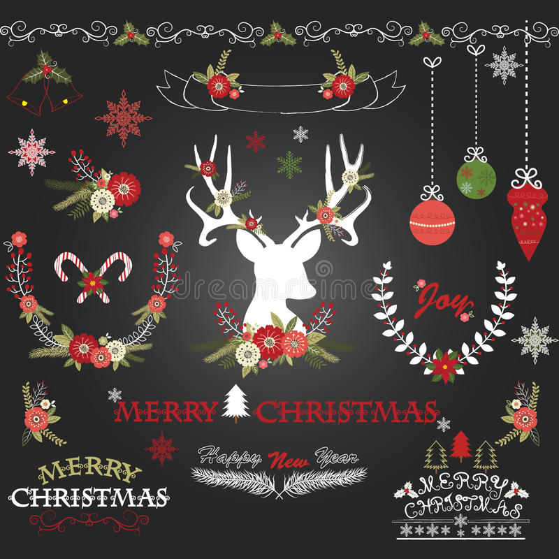 Chalkboard Merry Christmas Flowers. Deer, Rustic Christmas Wreath, Christmas Collections vector illustration