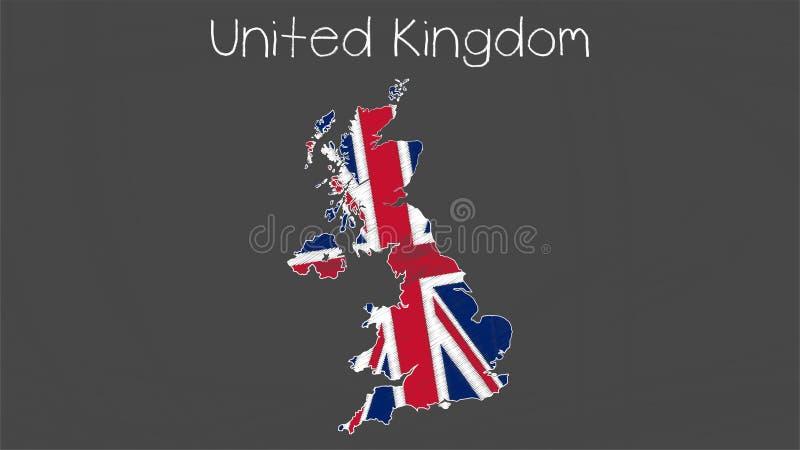 United Kingdom map-flag illustration. Flag of United Kingdom in map shape on chalkboard vector illustration