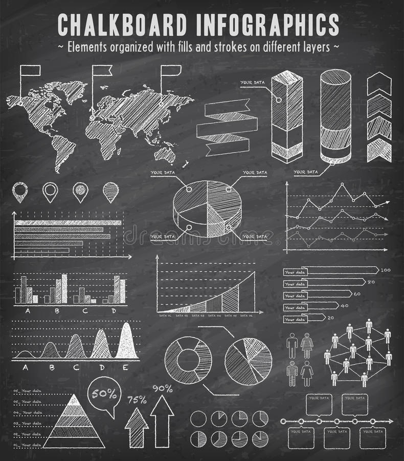 Chalkboard nakreślenia Infographics set ilustracja wektor