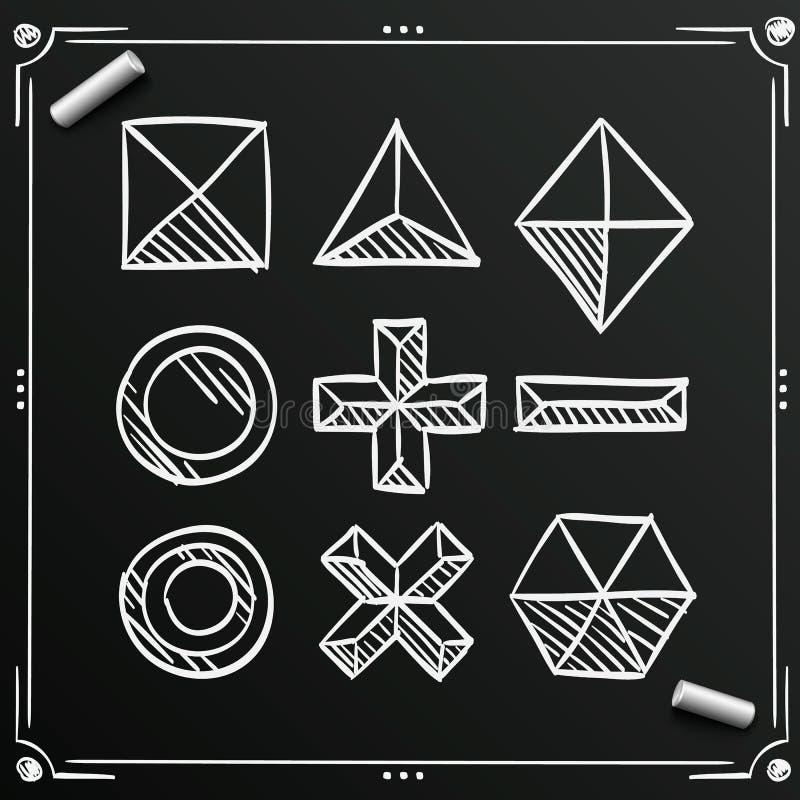 Chalkboard nakreślenia poligonalni kształty ilustracja wektor