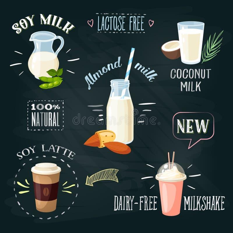 Chalkboard napojów bezpłatne reklamy ustawiać: soi mleko, kokosowy mleko, migdału mleko, soi latte, bezpłatny milkshake royalty ilustracja