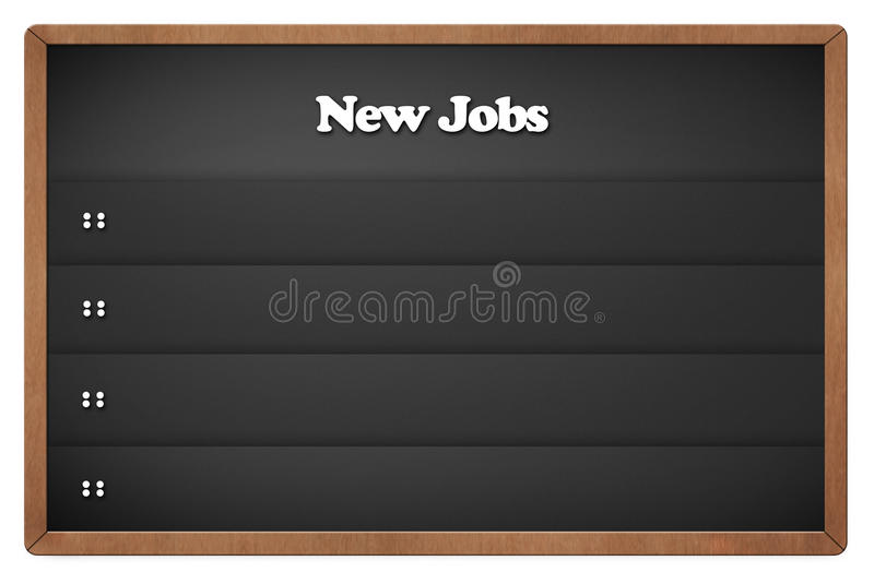 Chalkboard with new jobs royalty free illustration