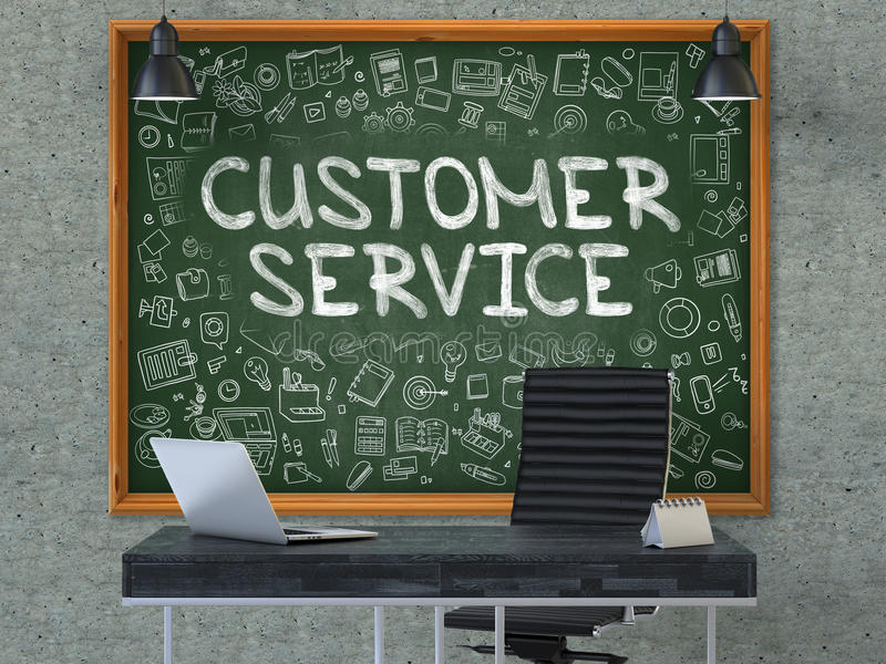 office chalkboard. Download Chalkboard On The Office Wall With Customer Service Concept. 3D. Stock Image -