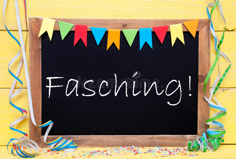 Chalkboard With Party Decoration, Text Fasching Means Carnival. Chalkboard With German Text Fasching Means Carnival. Party Decoration Like Streamer, Confetti And royalty free stock image