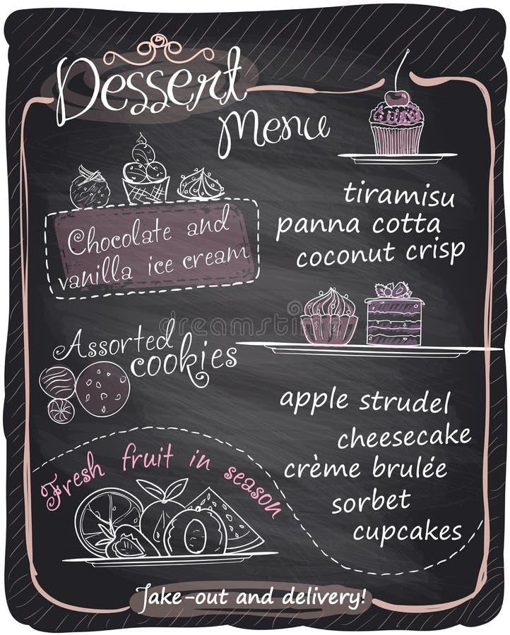 Chalkboard ręka rysujący deserowy menu royalty ilustracja