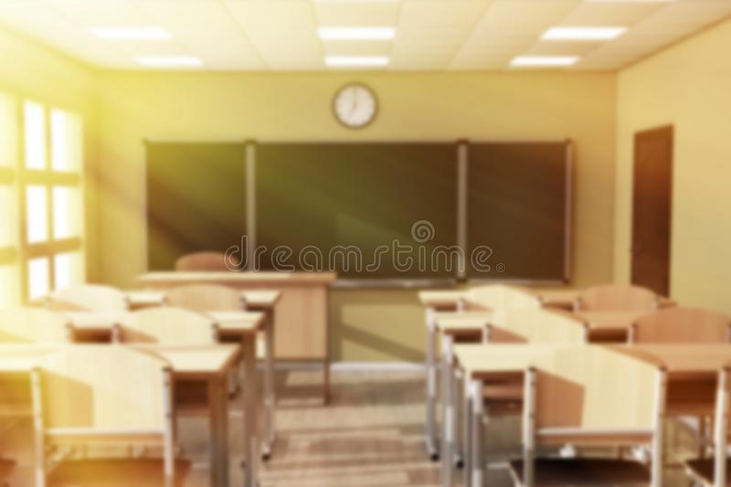 Chalkboard with Rows of Wooden Lecture School or College Desk Ta royalty free stock photo