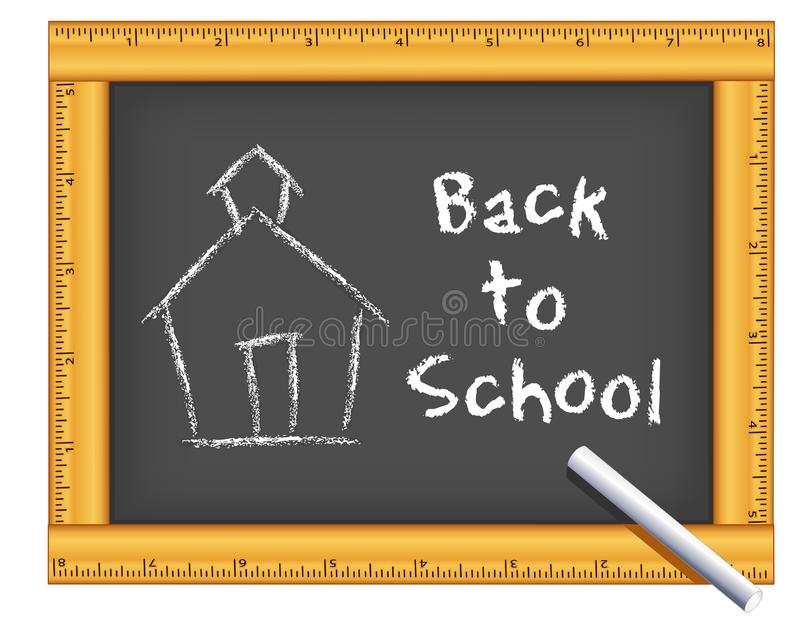 Chalkboard Ruler Frame, Chalk, Schoolhouse, Back to School vector illustration