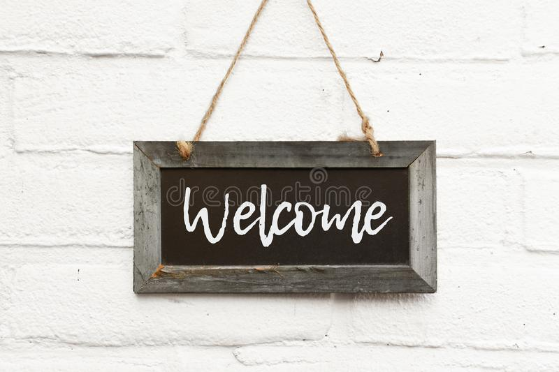 Chalkboard sign text welcome come in stock photos