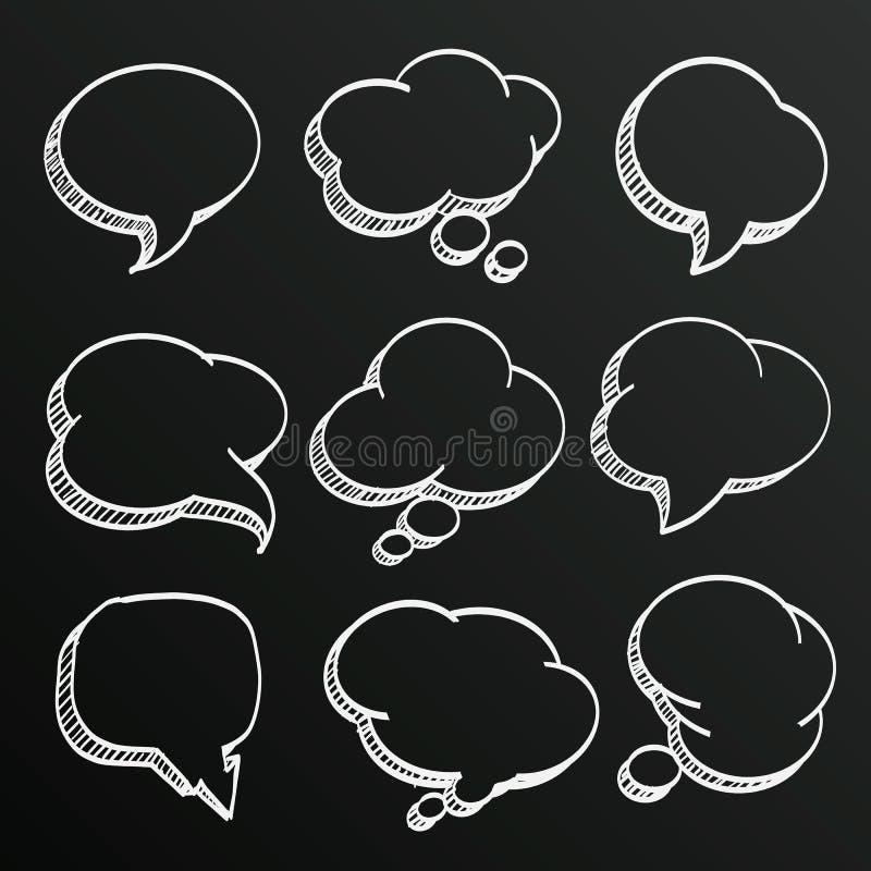 Chalkboard sketch of hand drawn comic speech bubbles set, Vector illustration stock illustration