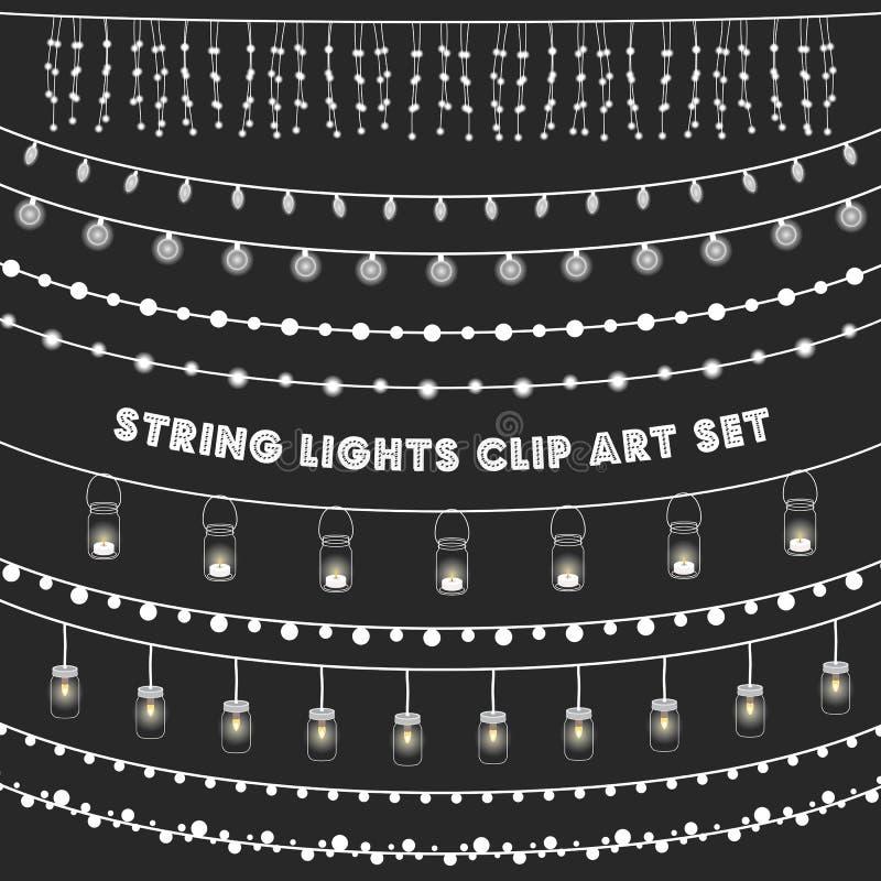 Chalkboard String Lights Set. Set of glowing string lights on a chalkboard grey background. EPS 10 with transparency vector illustration