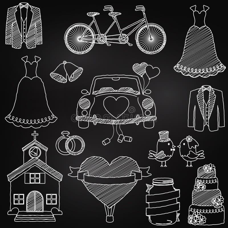 Chalkboard Stylowi Ślubni O temacie Doodles ilustracja wektor