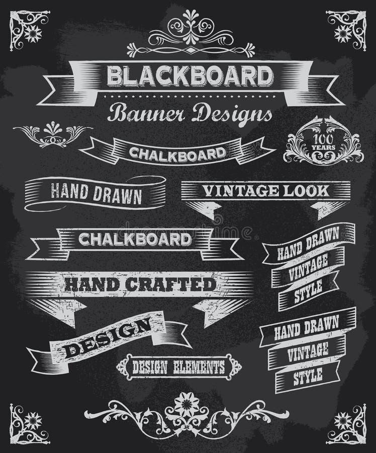 Chalkboard sztandary i wektor ramy ilustracji
