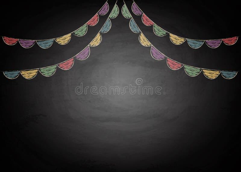 Chalkboard tło z rysunkowymi chorągiewek flaga royalty ilustracja