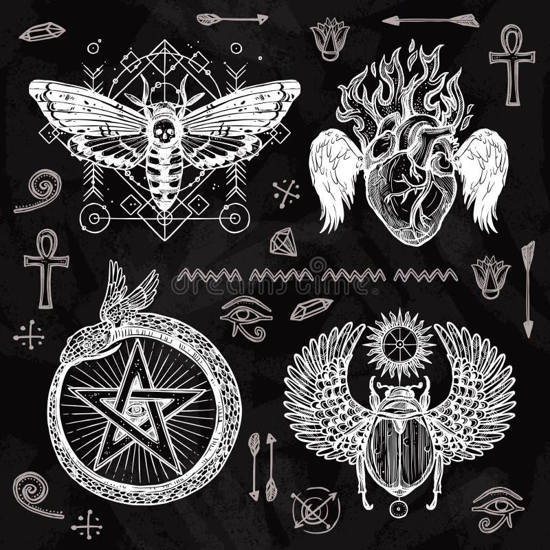 Chalkboard tatuażu set royalty ilustracja