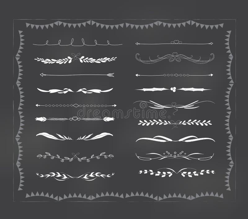 Chalkboard teksta divider ręka rysujący rocznik royalty ilustracja