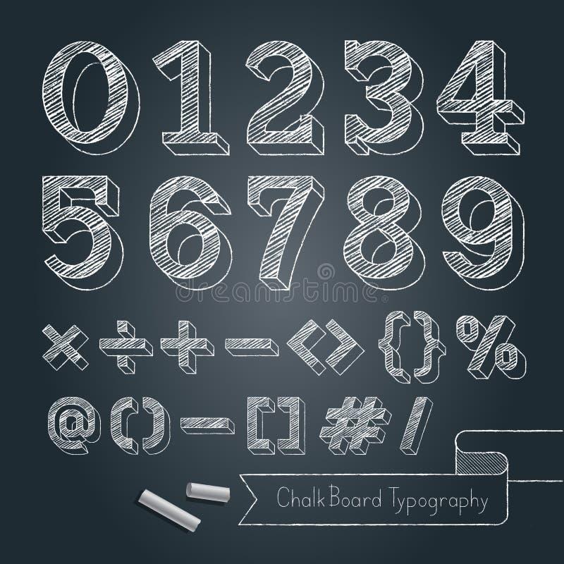 Chalkboard typography alphabet doodle style vector illustration royalty free illustration