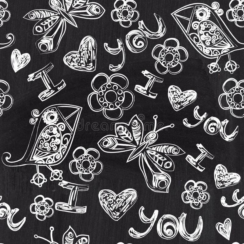 Chalkboard valentine bezszwowy wzór. Kopiuje ten kwadrat s ilustracji