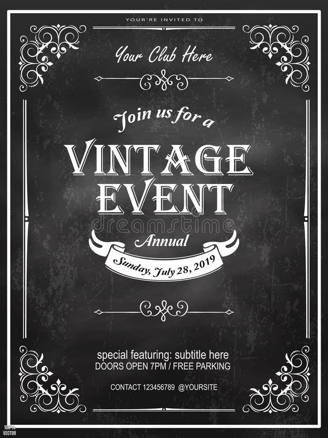 Chalkboard vintage Poster - vintage poster with retro elements on chalkboard background. Design template with sample text royalty free illustration
