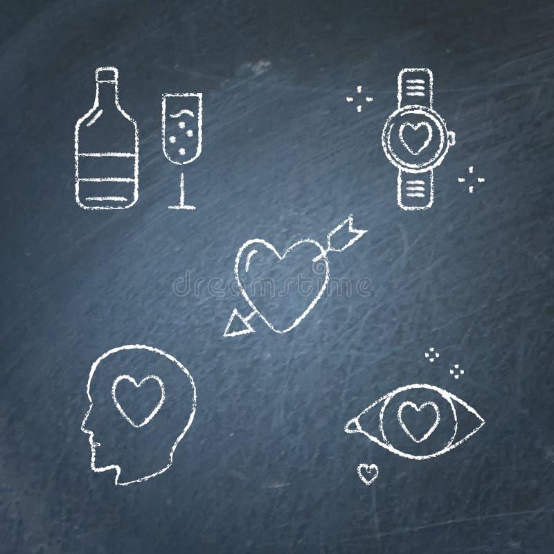 Chalkboard walentynki ikona ustawiająca w kreskowym stylu royalty ilustracja